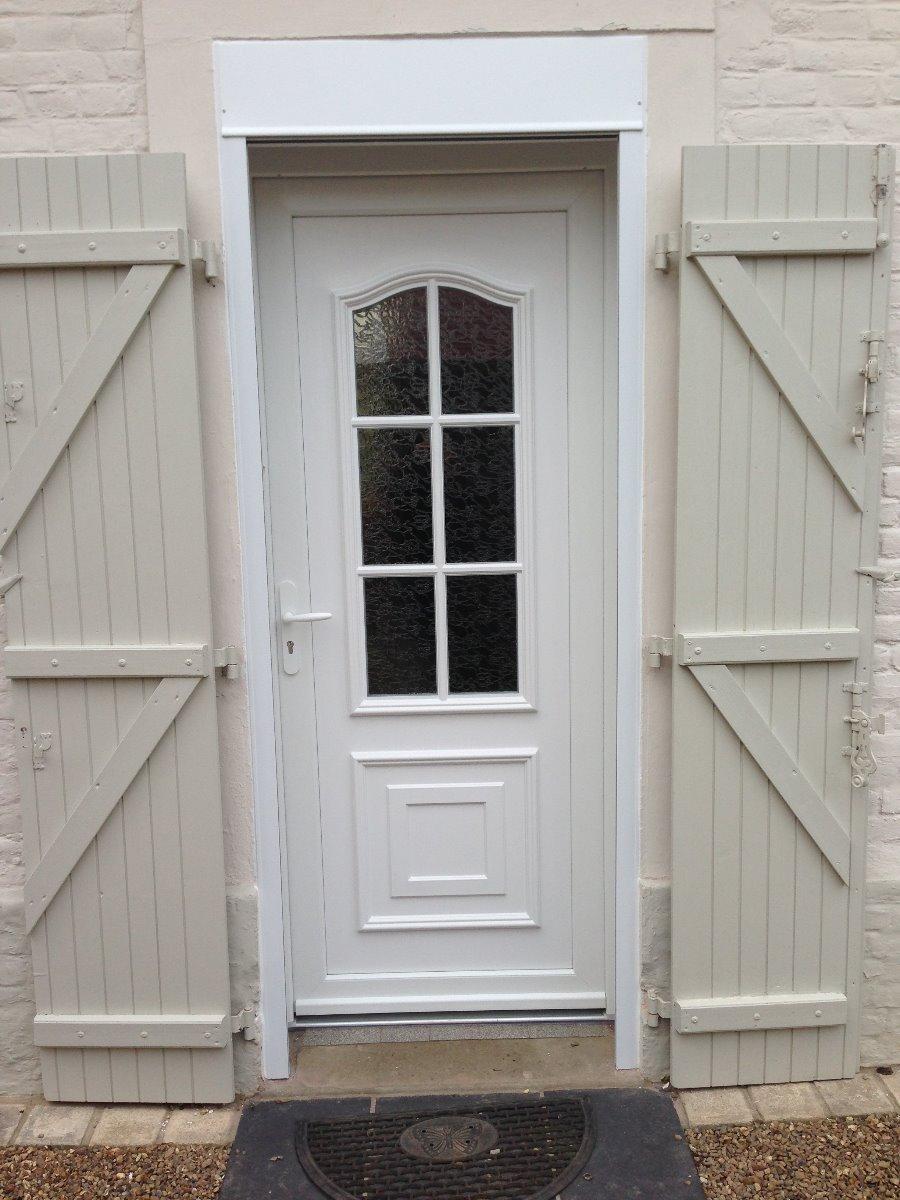 Porte d'entrée en PVC blanc - RUE - 80