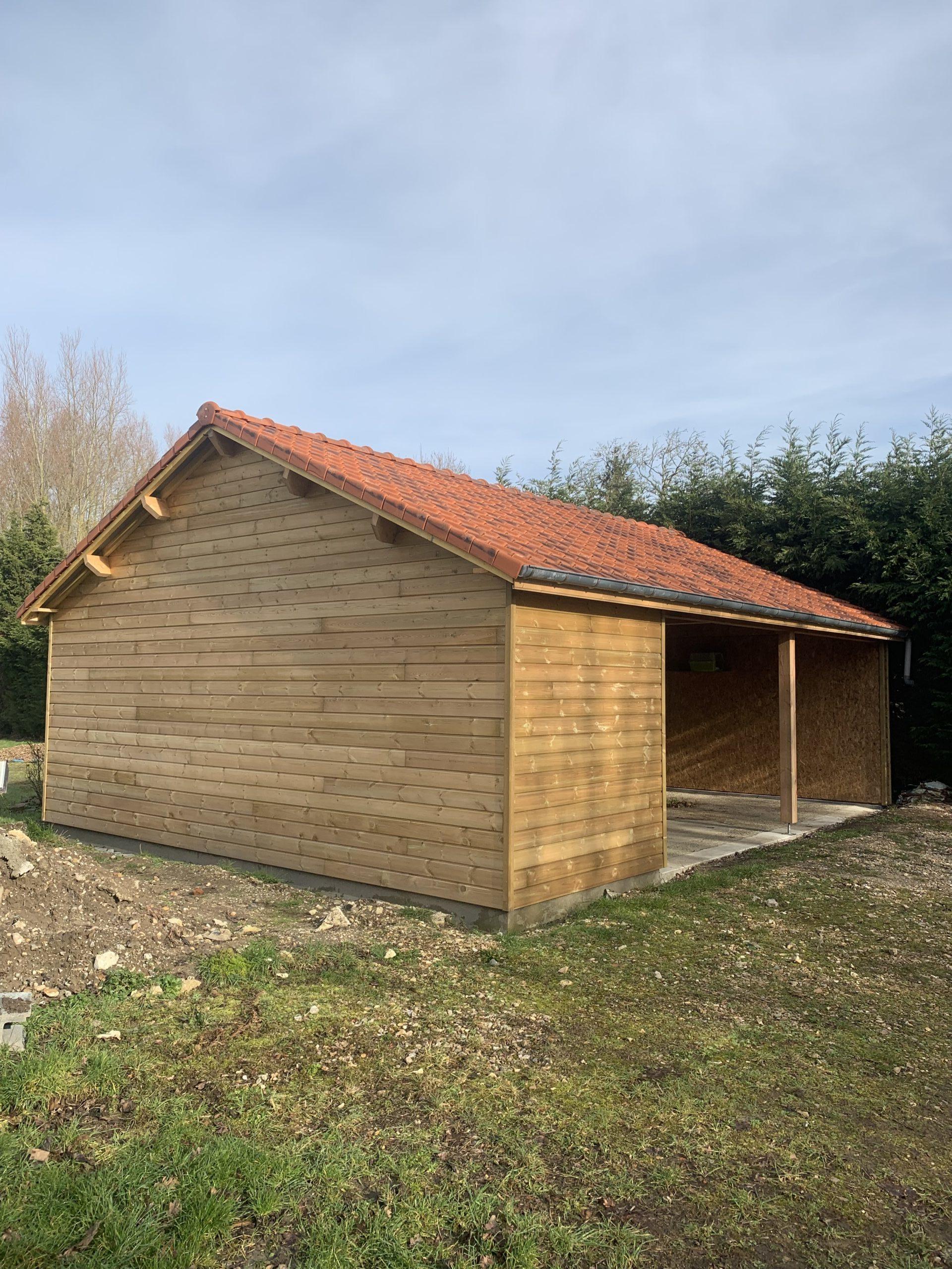 Garage ossature bois sur dalle existante - RUE - 80